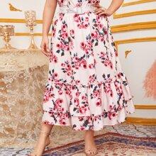 Falda con estampado floral bajo fruncido a capas