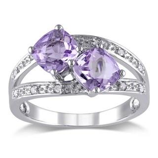 Miadora Silver Rose de France and Diamond Ring (Size 5.5)