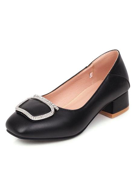 Milanoo Mid-Low Heels For Women Square Toe Block Heel Pumps