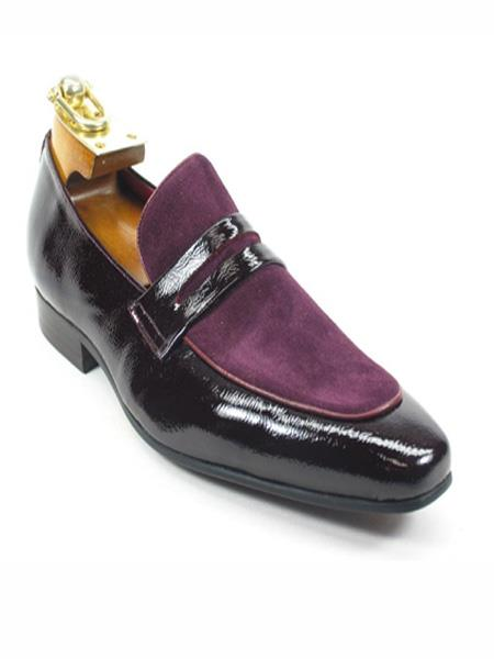 Mens Fashionable Leather Loafer Purple Dress Shoe