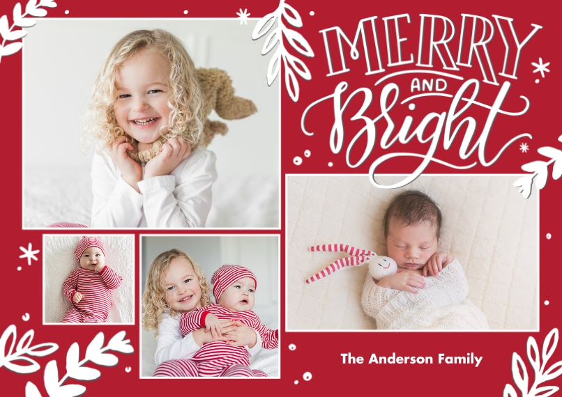 Christmas Photo Cards 5x7 Cards, Premium Cardstock 120lb with Elegant Corners, Card & Stationery -Christmas Merry and Bright Frames