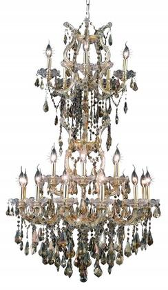 2801D30SG-GT/RC 2801 Maria Theresa Collection Large Hanging Fixture D30in H50in Lt: 23+2 Gold Finish (Royal Cut Golden Teak
