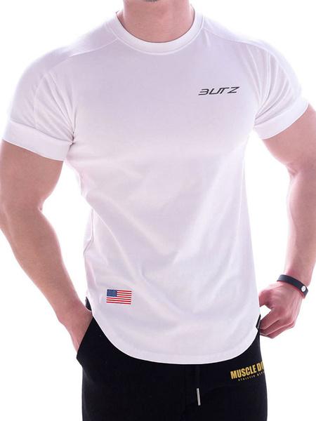Milanoo Camisetas de hombre Joya Cuello Manga corta Bandera americana Tops de verano