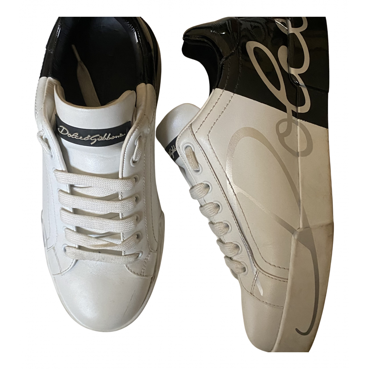 Dolce & Gabbana Portofino White Leather Trainers for Men 39 EU