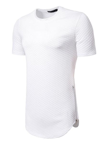 Milanoo Black Casual T Shirt Crewneck Diamond Pattern Zipper Decor Short Sleeve Longline T Shirt For Men