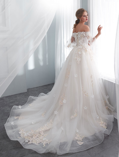 Milanoo Princess Wedding Dresses Half Sleeve Off Shoulder Lace Flowers Pearls Applique Ivory Bridal Dress With Train