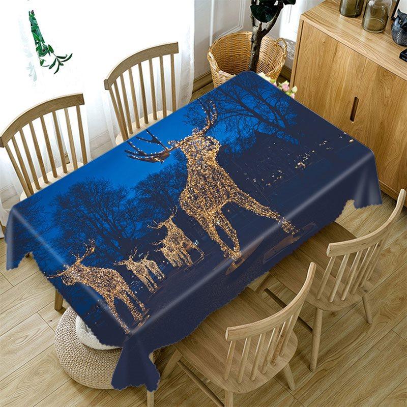 3D Tablecloth Christmas Golden reindeer Pattern Waterproof Cloth Thicken