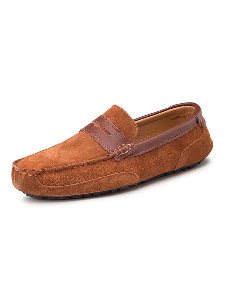 Milanoo Para hombre Mocasines de cuero de vaca redonda de deslizamiento del dedo del pie en los zapatos de conduccion