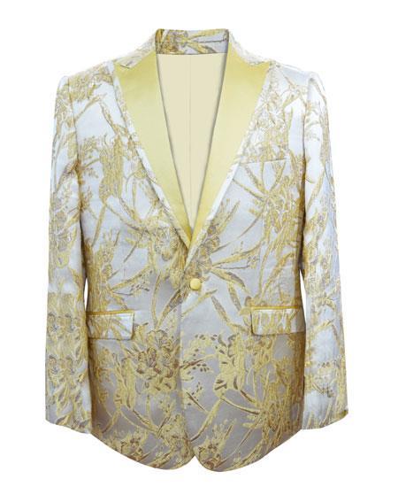 Men's Yellow ~ Champagne Fashion White and Gold Tuxedo Bow Tie