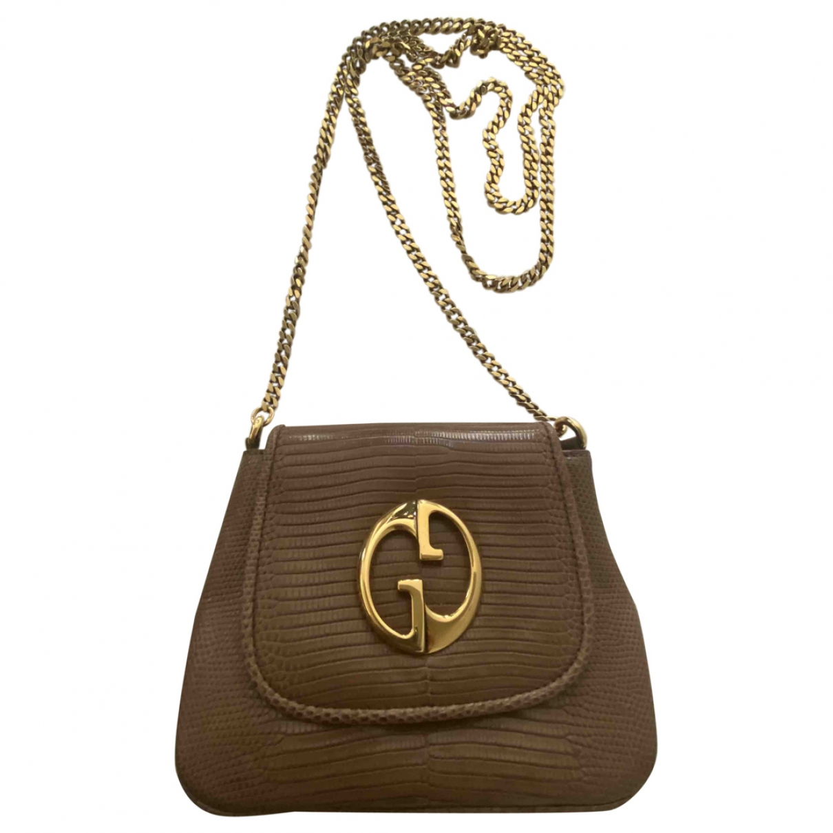 Gucci - Sac a main 1973 pour femme en lezard - marron