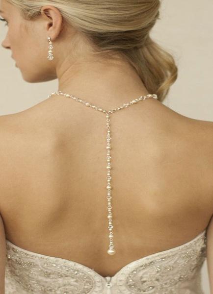Milanoo Wedding Backdrop Necklace White Pearl Vintage Necklace
