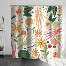 Halloween Pattern Shower Curtain With 12hooks