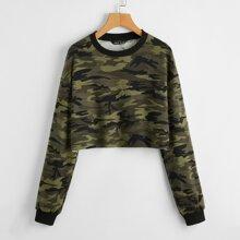 Drop Shoulder Camo Crop Pullover