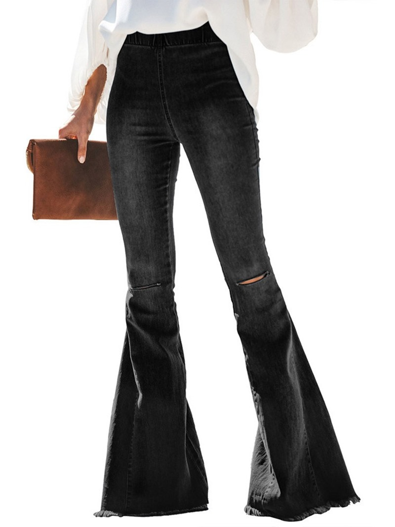Ericdress Hole Plain Bellbottoms Slim Jeans