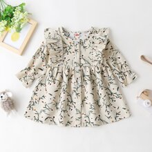 Baby Girl Floral Print Button Front Ruffle Trim Corduroy Dress