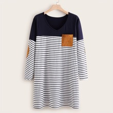Plus Pocket Patched Stripe Tee Dress