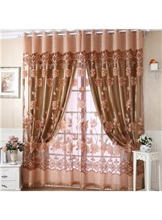 Blackout Floral Printing Champagne Bedroom and Living Room Curtain Set