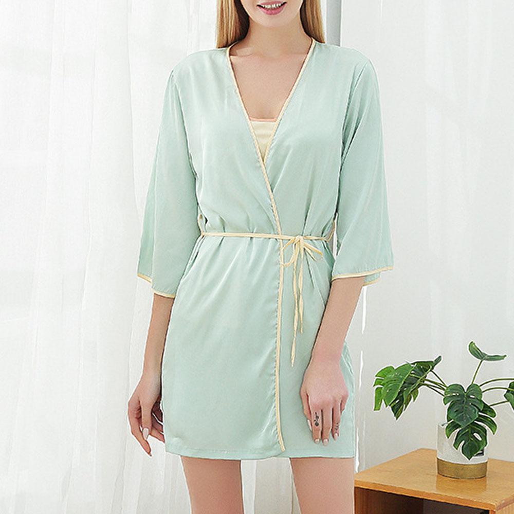 Comfortable Smooth Chiffon Lace-Up Women's Pajama Suit Night-robe