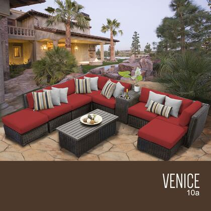 VENICE-10a-TERRACOTTA Venice 10 Piece Outdoor Wicker Patio Furniture Set 10a with 2 Covers: Wheat and