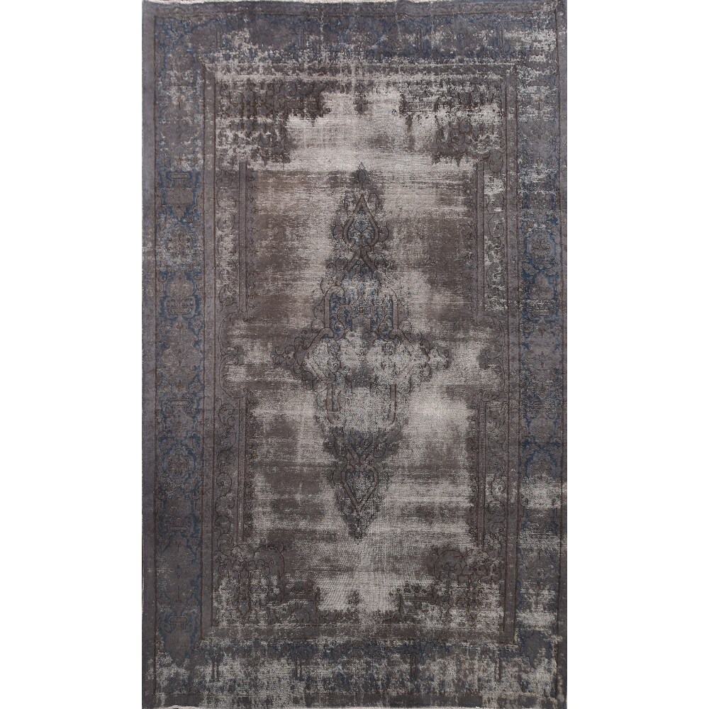Clearance Distressed Kerman Persian Area Rug Wool Handmade Carpet - 8'3