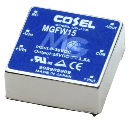 Cosel 15W Isolated DC-DC Converter Through Hole, Voltage in 9 → 36 V dc, Voltage out ±15V dc