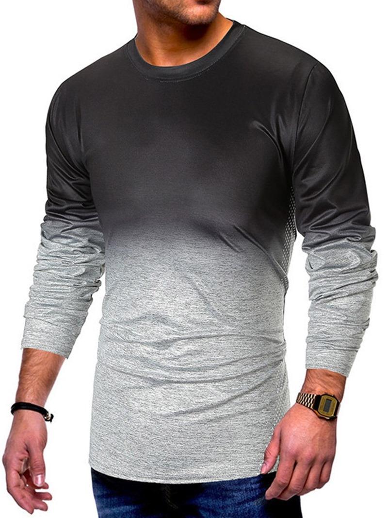Ericdress Color Block Casual Round Neck Mens Slim T-shirt