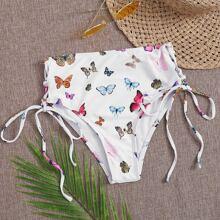 Butterfly Print Tie Side Bikini Panty