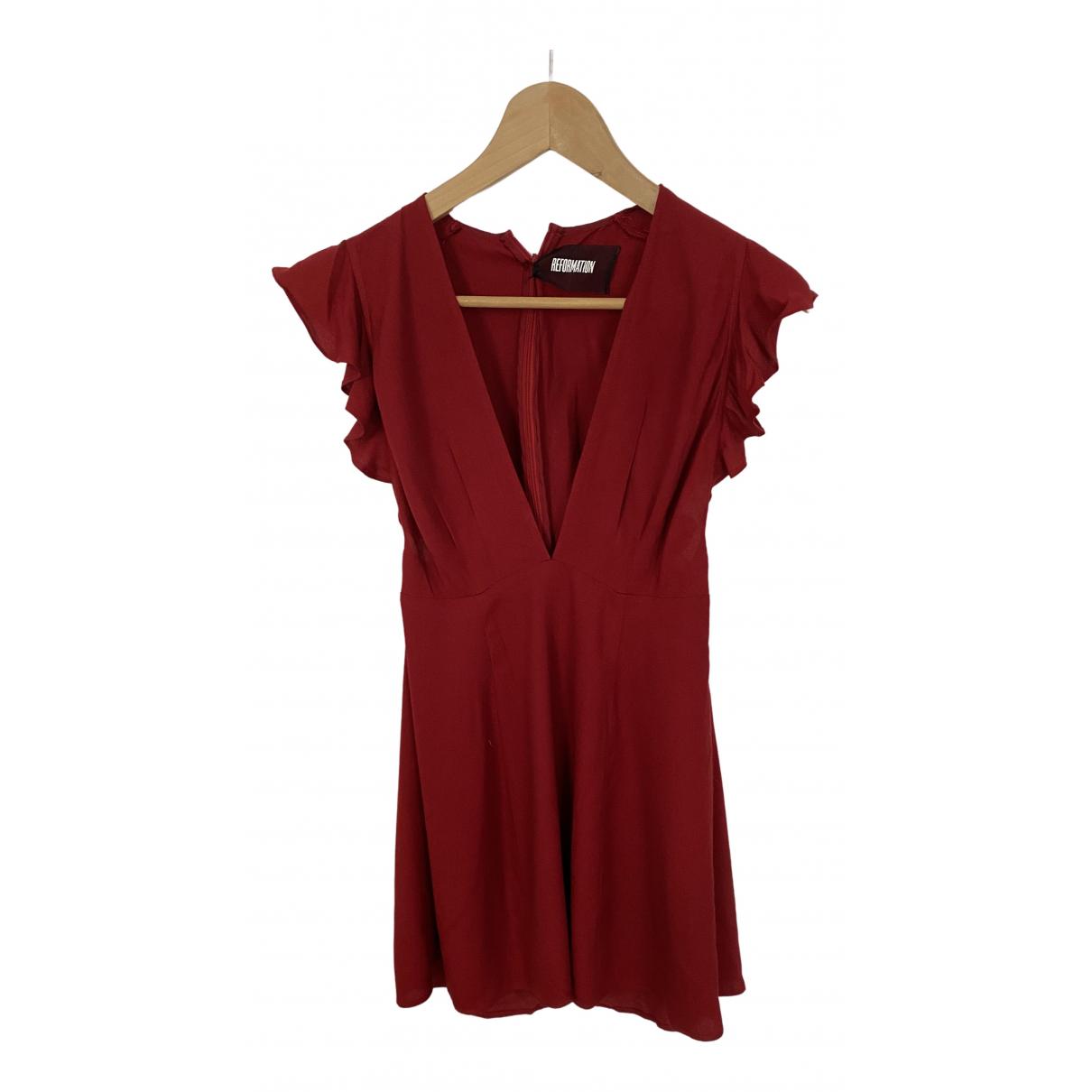 Reformation \N Kleid in  Rot Baumwolle