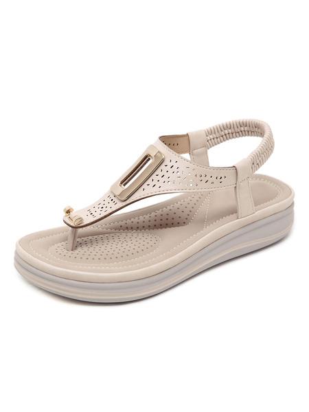 Milanoo Women Flat Sandals Casual Cut Out Flat PU Leather