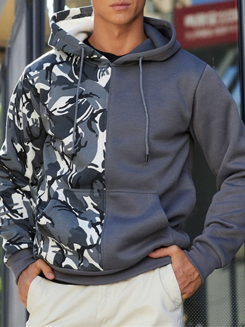 Ericdress Thick Patchwork Camouflage Hooded Loose Hoodies