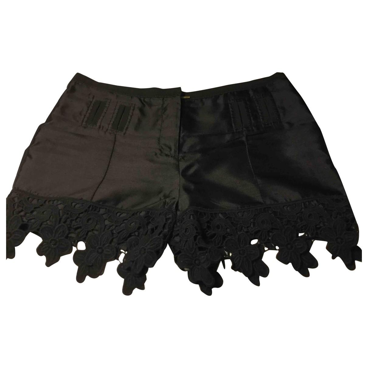 Roberto Cavalli \N Black Silk Shorts for Women 44 IT