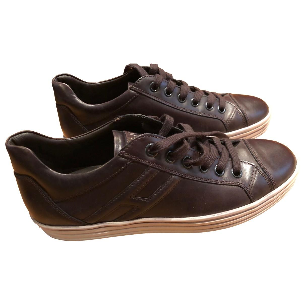 Hogan - Baskets   pour homme en cuir - marron