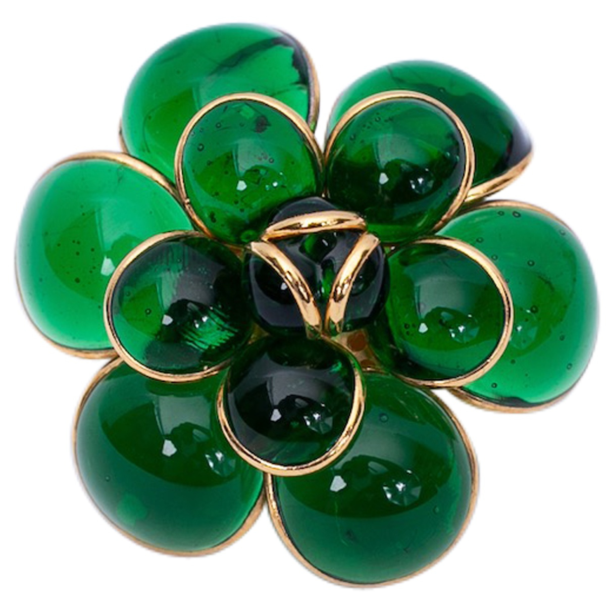 - Broche Motifs Floraux pour femme en verre - vert
