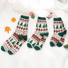 3 Paare Eltern-Baby Socken mit Weihnachten Muster