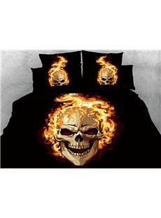 A Flaming Skull And A Sly Smile 3D Printed 4-Piece Cotton Bedding Sets/Duvet Covers