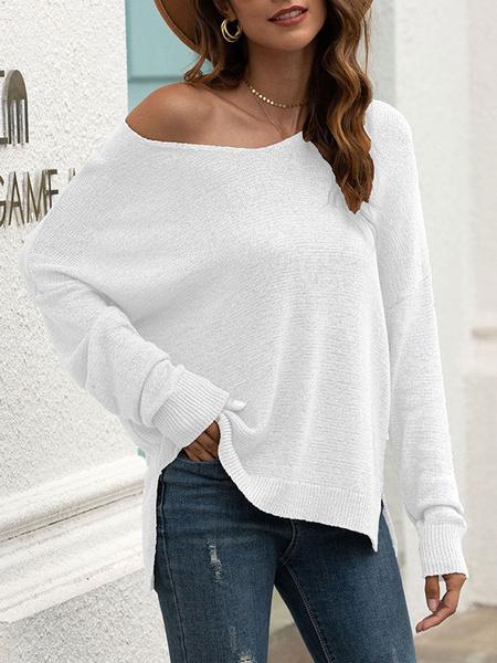 Milanoo Jersey de mujer sueter gris con cuello en V delantero dividido mangas largas sueteres acrilicos asimetricos