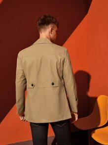 Men Lapel Collar Button Up Coat