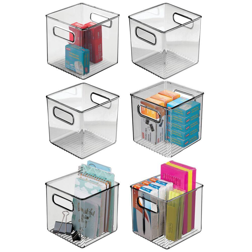 Plastic Office Storage Organizer Cube Bin in Smoke Tint, 6
