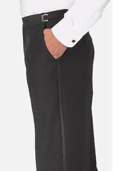 Men's Satin Black Polyester Classic Fit Plain Front Tuxedo Pants