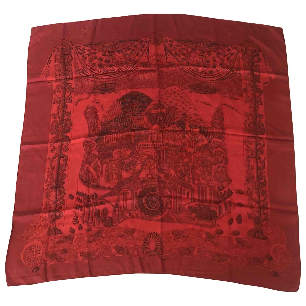 Hermes - Carre Carre 90 pour femme en soie - rouge