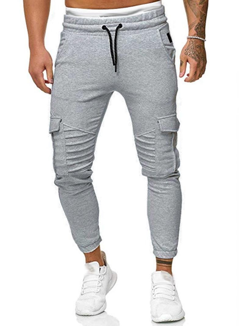 Ericdress Pocket Plain Lace-Up Fall Men's Casual Pants