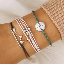 3pcs Letter & Bead Decor String Bracelet