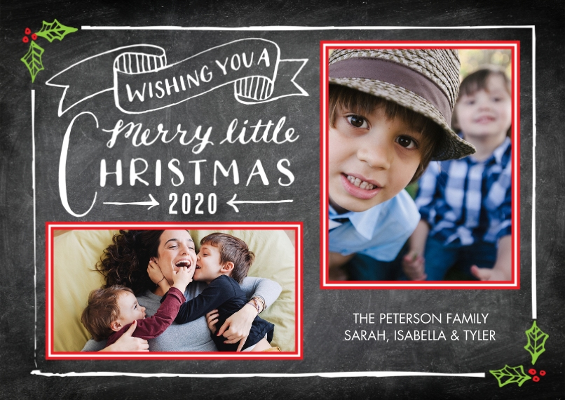 Christmas Photo Cards Flat Glossy Photo Paper Cards with Envelopes, 5x7, Card & Stationery -2020 Christmas Rustic Banner by Tumbalina
