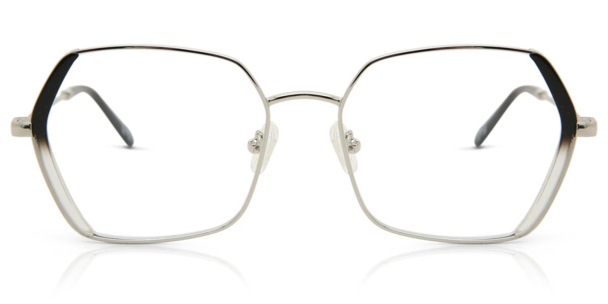 Square Full Rim Metal Women's Glasses Discount Online Silver Size 54, Free Lenses, HSA/FSA Insurance, Blue Light Block Available - SmartBuy Collecti