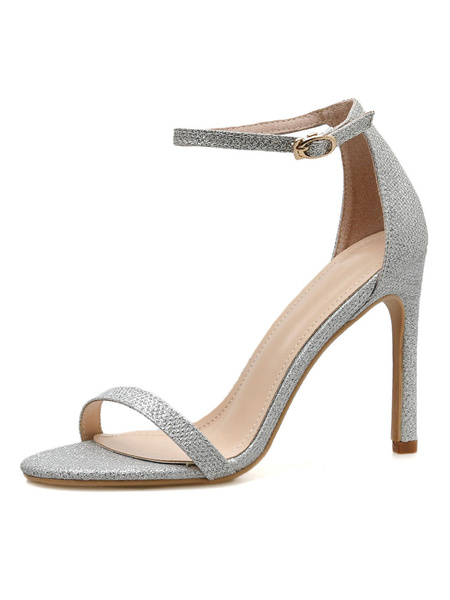 Milanoo Women\'s Sandals Peep Toe Stiletto Heel Chic Silver Sequined Cloth Ankle Straps Sandals