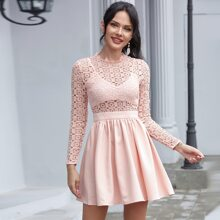 Double Crazy Guipure Lace Bodice Dress