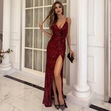 Surplice Neck Split Thigh Sequin Cami Dress