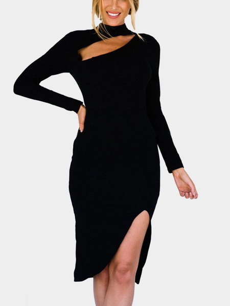 Yoins Black Sexy Long Sleeves Side Slit Dress with Cut Out Design