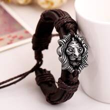 Guys Lion Head Decor PU Leather Woven Bracelet