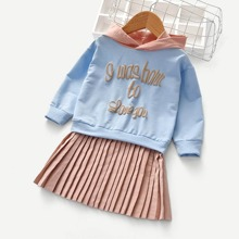 Toddler Girls Slogan Graphic Pleated 2 In 1 Hoodie Dress